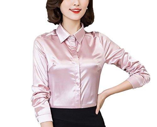 (YOUMU Women Satin Silk Long Sleeve Button-Down Shirt Formal Work Silky Blouse Top )