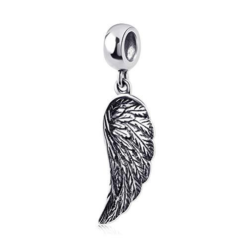 Sterling Silver Angel Charm Pendant - Sambaah Angel Wing Charm 925 Sterling Silver Wing Pendant Lucky Charm Lucky Bracelets Charm