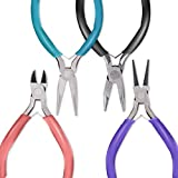 Anezus 4Pcs Jewelry Pliers Tool Set Includes Needle Nose Pliers, Round Nose Pliers