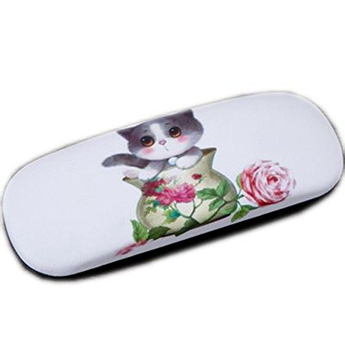 Leather Hard Cigar Case - Cute Cartoon Cat Print Hard Shell Myopia Glasses Case PU Leather Eyeglasses Spectacles Box (C)