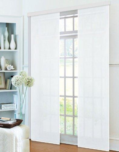 Flächenvorhang, Schiebegardine Blickdicht matt, Weiß, aus Micro Satin (Mikrofaser Gewebe), mit Paneelwagen und Beschwerungsstange -85600-, 85600