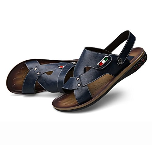 U Beach Blue Comfort Men's MAC Slippers Fashion Casual Leather Breathable Shoes Open Out Hollow Sandals Toe r4rqU