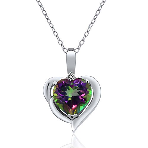 Gem Stone King Green Mystic Topaz and White Diamond Sterling Silver Pendant Necklace, 2.53 Ct Heart Shape with 18 Inch Silver ()