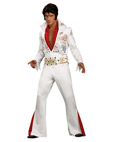 Mens Theatre Costumes Celebrity Costumes White Elvis Jumpsuit Rhinestone Eagle Sizes: X-Large]()