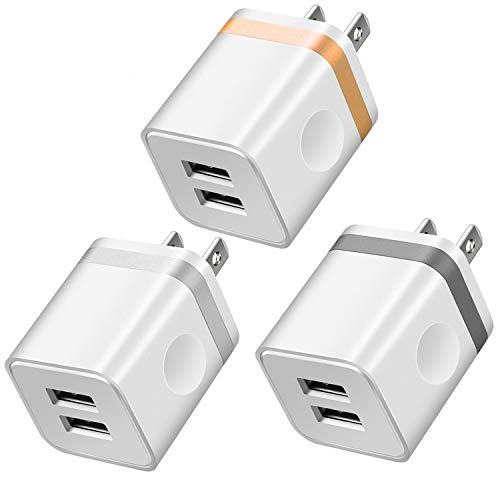 LEEKOTECH USB Wall Charger, [UL Certified] 3-Pack 2.1A/5V Dual USB Plug Power Adapter Charger Block Charging Cube Compatible with iPhone X/ 8/7/ 6S Plus, Xs Max XR, iPad, Samsung, Android, and More
