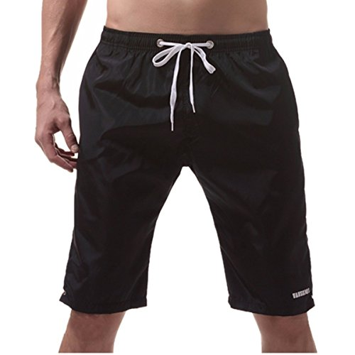 ZOMUSA Clearance Sale Men's Swim Trunks Bathing Suits Solid Beach Shorts With Pockets (L, Black)