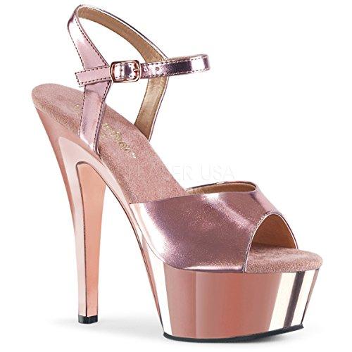 (Women's 6 Inch Spike Heel Platform Sandal (Rose Gold Met. Pu/Rose Gold Chrome;7) )