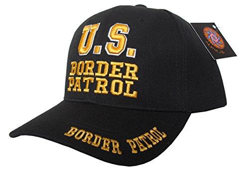 Mens Black Border (US Border Patrol Law Enforcement, 3D Embroidered Adjustable Baseball Cap (Black))