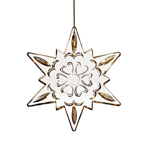(DEMDACO Etched Crystal Goldtone Star 4 x 4.5 Inch Glass Hanging Christmas Tree Ornament)