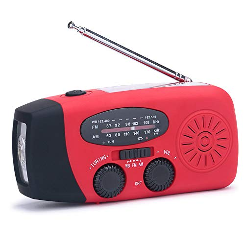 Lanshanchu Emergency Dynamo NOAA FM AM WB Weather Radio Solar Hand Crank Radio with 3-LED Flashlight & 1000 mAh Power Bank for Hiking Camping Snow Storm Hurricane