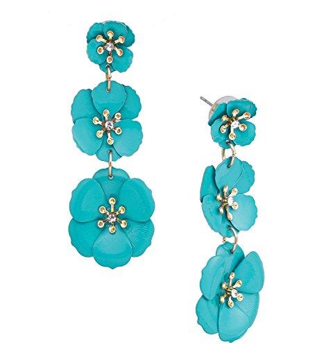 (NVENF Flower Dangle Earrings for Women Tiered Petal with Crystal Center Triple Flowers Dangling Earring Fashion Jewelry Stud Drop Earrings (Blue))
