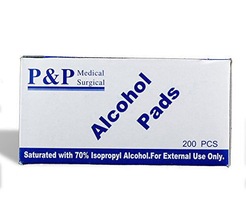 PADS - Antiseptic wipes_latex FREE_NON woven (HIGHEST GRADE SPUNLACE) saturated in 70% isopropyl alcohol. MEDIUM. BOX OF 200 _ 1 X 2