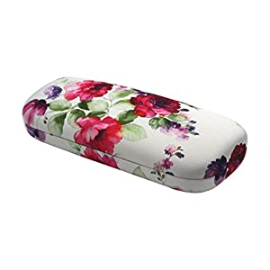 Rachel Rowberry Floral Eyeglass Case with eyeglass cleaning cloth | Medium hard eyeglass case in a unique Microfiber Smooth Finish (AS126 Cranberry Rose)