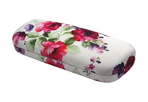 Rachel Rowberry Floral Eyeglass Case with eyeglass cleaning cloth | Medium hard eyeglass case in a unique Microfiber Smooth Finish (AS126 Cranberry - Cases Hard Eyeglass