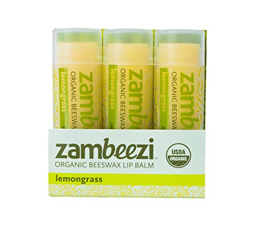 Beeswax Lip Balm by ZAMBEEZI - Lemongrass 3 pack - Crafted with USDA Certified Organic, Fair Trade, lip refreshing ingredients from Zambia, Africa