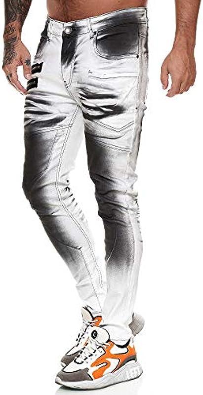 OneRedox Designer męskie jeansy spodnie cargo Regular Skinny Fit spodnie jeansowe Destroyed Stretch Model 8031: Odzież