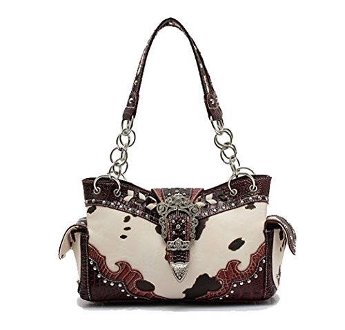 Cowgirl Trendy Western Buckle Scroll Art Animal Cow Print Conceal Carry Purse-Burgundy (Cow Print Luggage)
