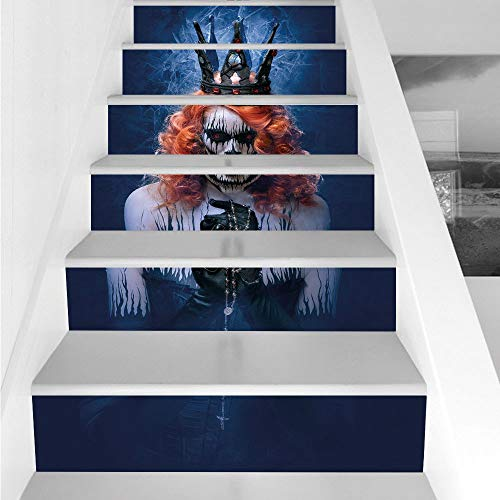 Stair Stickers Wall Stickers,6 PCS Self-adhesive,Queen,Queen of Death Scary Body Art Halloween Evil Face Bizarre Make Up Zombie,Navy Blue Orange Black,Stair Riser Decal for Living Room, Hall, Kids Roo ()