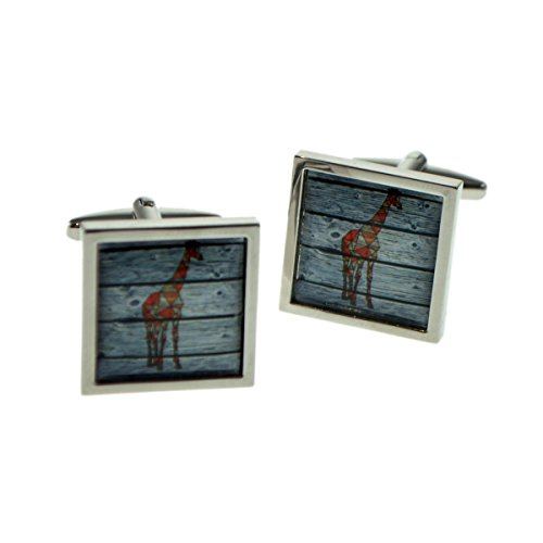 Square Cufflinks Framed - Geometric Giraffe On Driftwood Square Framed Cufflinks X2BOCSB079