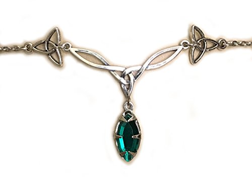 Moon Maiden Jewelry Celtic Triquetra Trinity Knot Headpiece Emerald Green ()