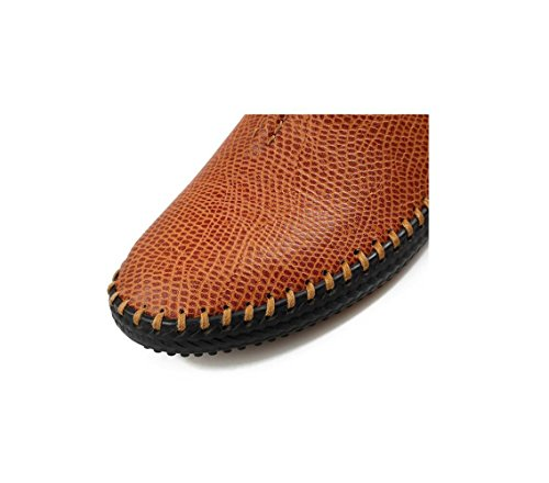 Yellow Sportivi Pelle Tela Punta Uomo Stivali Casual Scarpe A in Morbido Stagione Affari Tondo Sandali Nastro Colore 6xBqaw