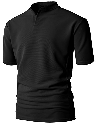 Solid L/s Tee - H2H Mens Active Slim Fit Henley T-Shirts Short Sleeve Solid Designed Black US M/Asia L (KMTTS0568)