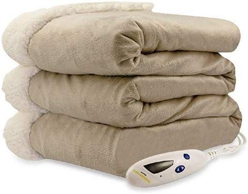 Biddeford 9064114-902 Micro Mink and Sherpa Electric Heated Throw Blanket Grey