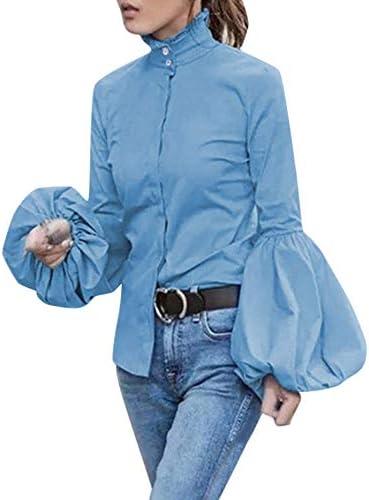 SamMoSon_ - Blusa de Mujer de Fluido, Estilo Informal, Elegante, con Cuello en V, Mangas cálidas, para ratón, Camisa, Lisa, Bebé-Niñas, Azul, Small: Amazon.es: Deportes y aire libre