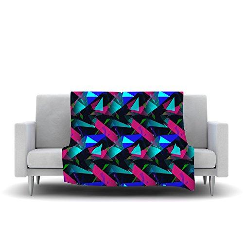 60 by 50 Kess InHouse Alison Coxon Confetti Triangles Dark Magenta Blue Fleece Throw Blanket
