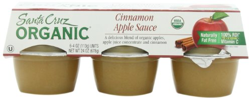 Santa Cruz Organic Cinnamon Apple Sauce, 4-Ounce Cups, 6 Count (Pack of (Santa Cruz Organics Apple)