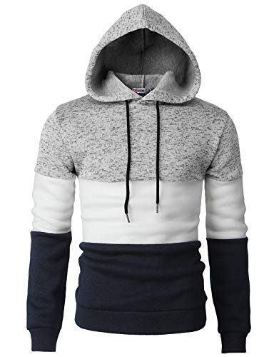 H2H Men Casual Hoodies Turtleneck Long Sleeve Sweatshirts Pullovers with Color Trim Gray US L/Asia XL (CMOHOL058) ()