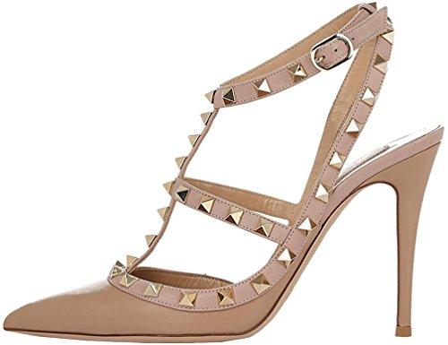 Calaier Damen Caoften 12CM Stiletto Schnalle Sandalen Schuhe Beige