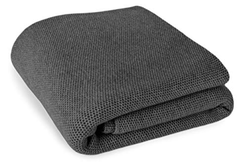 Love Cashmere 100% Cashmere Waffle Stitch Throw Blanket - Dark Gray - Super King Size - Made to Order - Made in Scotland ()
