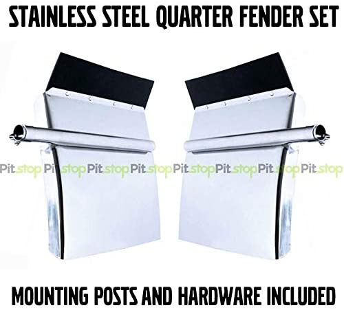 United Pacific Stainless Steel Quarter Fender Set 24x24 Peterbilt Kenworth Freightliner