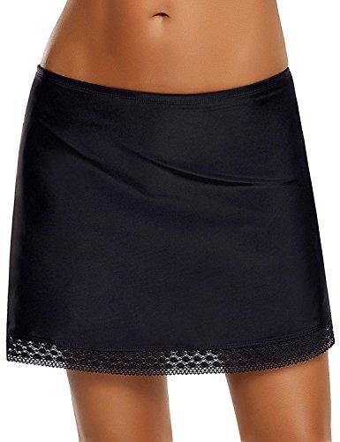 Lookbook Store Women's Bikini Swim Skirt Solid Black Swimsuit Bottoms Crochet Lace Trim Tankini Skort with Brief Size XL (US (Black Lace Skirt Suit)