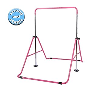 Tepemccu Expandable Gymnastics Bars,Adjustable Height Gymnastic Horizontal Bars,Junior Training Bar Children Folding Training Monkey Bars for Kids