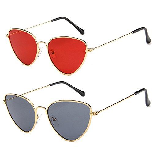 2 Packs Cat Eye Sunglasses for Womens Mens Vintage Red Reflective Lens Glasses Unisex(golden, red/grey)