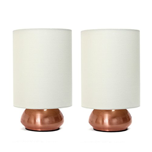 Simple Designs Home LT2016-CRM-2PK Gemini 2 Pack Mini Touch Lamp with Fabric Shades, 9.00 x 5.00 x 5.00 inches, Cream