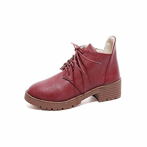 Fashionable wine Fashion a round Shoes Thick EUR34 with Short Single Match 5 All with red Boots rgw7dqrRx