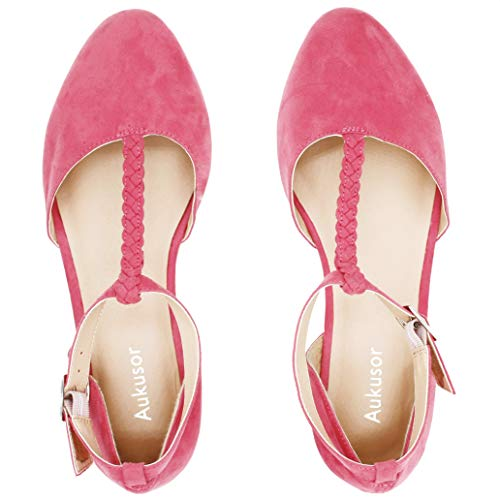 Women's Wide Ballet Flat Shoes -T-Strap Comfort Light Pointed Toe Slip on Casual Shoes. (180315 Red 8W) ()