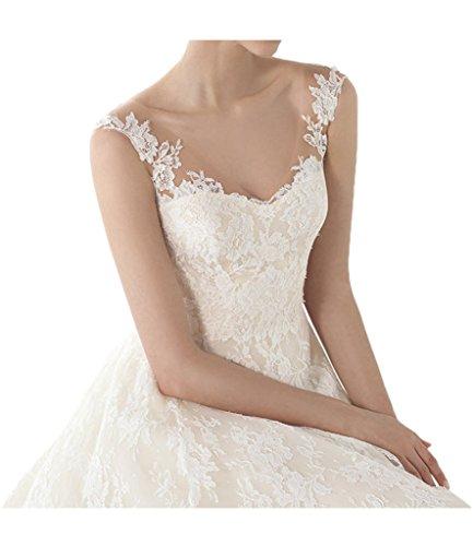 Promgirl House Damen 2016 Schoen Spitze Prinzessin A-Linie V-Ausschnitt Brautkleider Hochzeitskleider Lang
