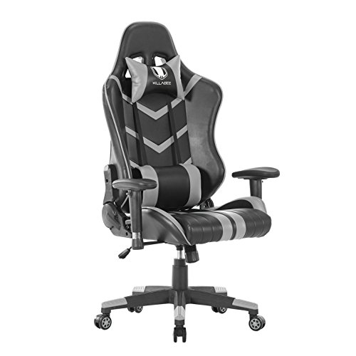 KILLABEE Memory Foam Gaming Chair - 90°-155° Adjustable Back Angle and 2D Arms High-Back Leather Racing Computer Chair Ergonomic Executive Office Chair Adjustable Lumbar Support and Headrest, Grey
