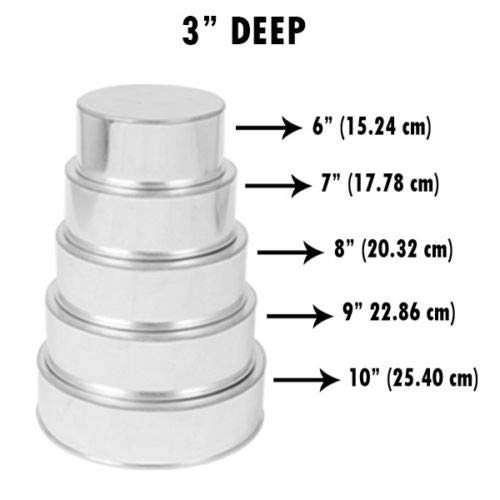 Set of 5 Tier Round Multilayer Birthday/Wedding Anniversary Cake Tins/Cake Pans/Cake Moulds 6''.7''.8''.9''.10'' - all 3'' Deep by AmeriTins (Image #2)