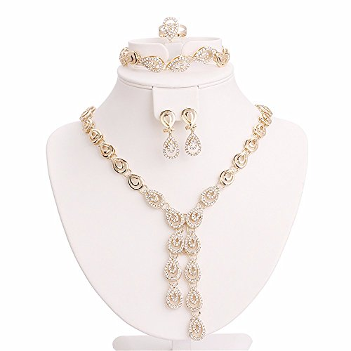Moochi Gold Plated Shinning Crystal Golden Necklace Earrings Bracelet Ring Jewelry Set