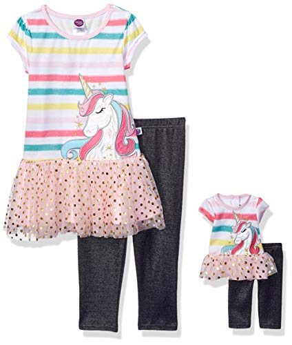 Dollie & Me Girls' Unicorn Top & Leggings with Matching 18 Inch Doll Outfit Set, Multi-Colored, 8 ()