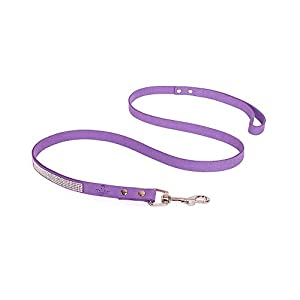 Reopet Bling Dog Cat Leash - Sparkly Rhinestone Studded Small & Medium Dogs Kitty Leads - 5/8 Inch by 4 Feet - Purple