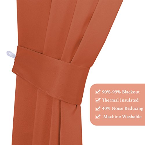 (Set of 6) Blackout Curtains Panels Set for Bedroom/Living Room - Ultra Soft Thermal Insulated Window Drapes (2 Panels of 52 x 96 Inch, 2 Curtain Valances, 2 Tie Backs, Solid Burnt Orange)