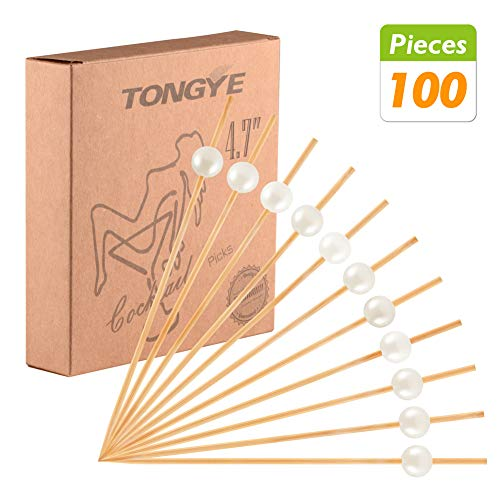 Toothpick Star Holder (Bamboo Cocktail Picks 4.7 Inch, Handmade Party Toothpicks - Decorative Skewers for Appetizer, Drink, Fruit, Sandwich of Wedding, Baby Shower, and Tea Party. (White Pearls, 100 Counts))