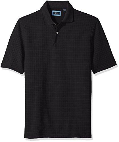 (Arrow 1851 Men's Big and Tall Short Sleeve Jacquard Polo Shirt, Black, Large )
