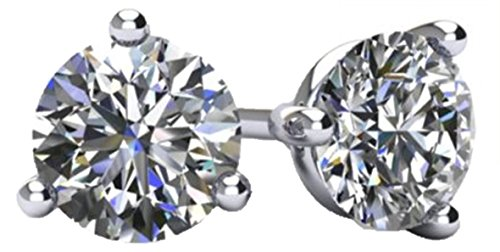 (NANA 14k Gold Post & Sterling Silver 3 Prong CZ Stud Earrings -Platinum Plated-7.5mm-3.00cttw)